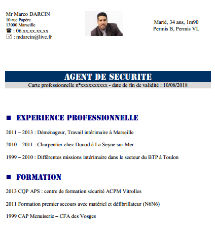 exemple cv agent cynophile